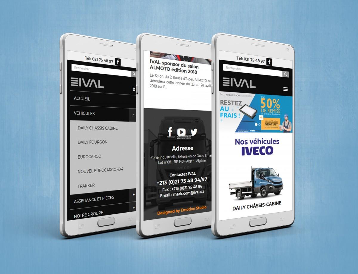 Site web ival en mode responsive sur smartphone