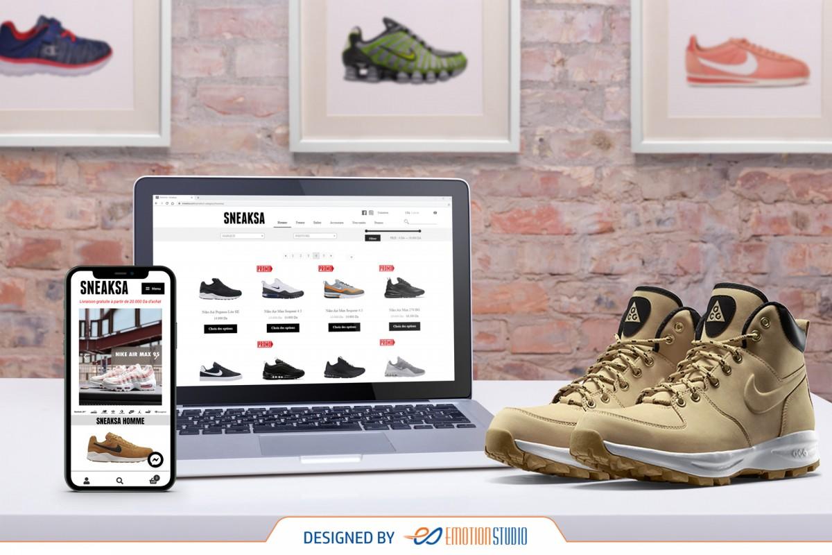 site e-commerce sneaksa sur mobile et pc